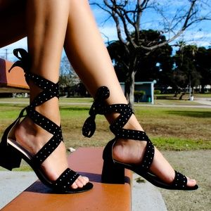 🆕//The Dakota// Black studded lace up Sandal